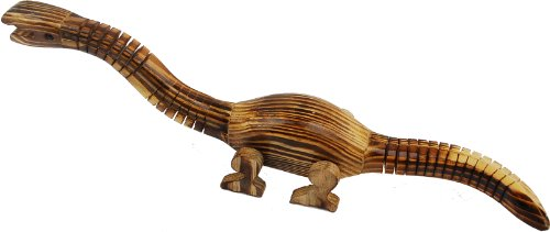 "Wood Wiggle Animal-Dinosaur 12""X2"" - Varnish Finish - 1"