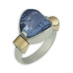 Something Blue Topaz Ring in 14K Gold and Sterling Silver