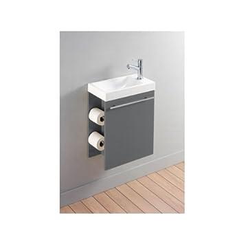 pack meuble lave lave mains avec distributeur de papier toilette gris laqu cuisine laqu. Black Bedroom Furniture Sets. Home Design Ideas