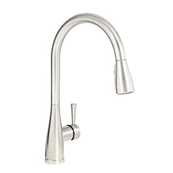 Mirabelle MIRXCCA100SS Stainless Steel Calverton Pullout Spray Kitchen Faucet with High Arch Gooseneck Spout