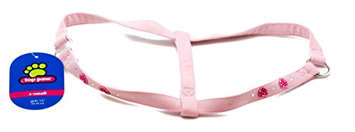 Top Paw Pink Step In Harness for Dogs XS Extra Small Pink Suede w/ Hearts Jewels (Top Paw Small Harness compare prices)