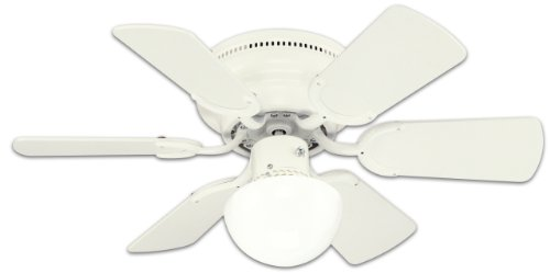 Westinghouse 78108 Petite 6-Blade 30-Inch 3-Speed Hugger-Style Ceiling Fan With Light, White