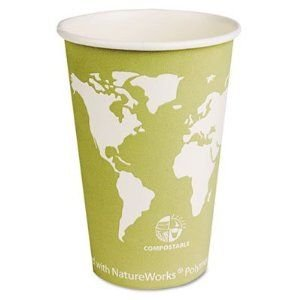 Eco-Products Epbhc16Wa - World Art Renewable Resource Compostable Hot Cups, 16 Oz, Seafoam Green,1000/Ctn