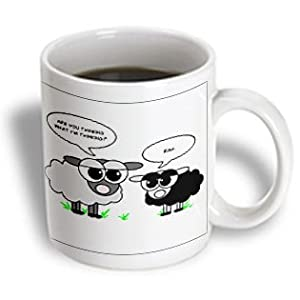 3dRose Cute Black and Grey Sheep Funny Design Ceramic Mug, 15-Ounce