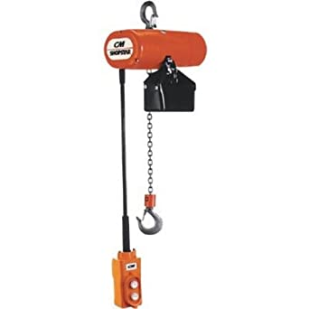 CM 2036 3-Phase Single Speed ShopStar Electric Chain Hoist, 600 lbs Capacity, 15' Lift Height, 8 fpm Lift Speed, 1/6HP, 230V/60Hz