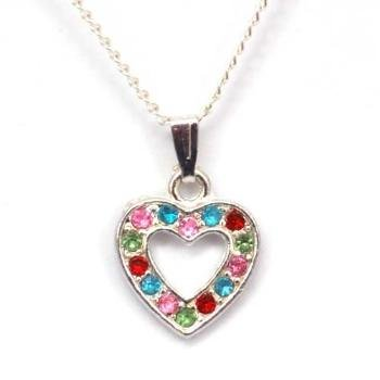 """The Olivia Collection Silvertone Multi-Coloured Set Heart 16"""" Necklace"""