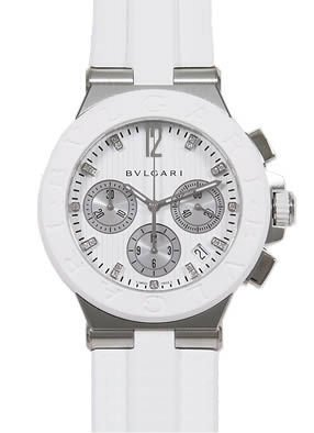 Bvlgari Diagono Chronograph White Rubber Mens Watch 101801