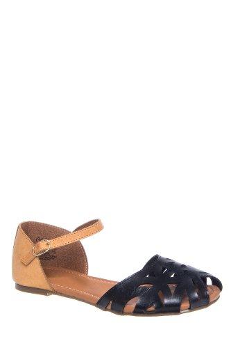 Zuma Cutout Ankle Strap Flat Sandal