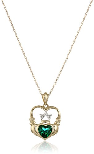 xpy-14k-yellow-gold-created-emerald-and-diamond-claddagh-pendant