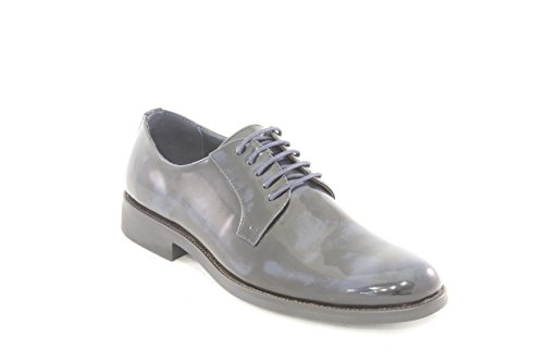 AwAy scarpa stringata derby Blu nero lucido in pelle shoes real leather blue black