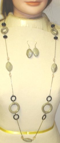 Silver Plated Long Chain Necklace with Large Grey Circle and Other Beads Earrings for Women and Teens
