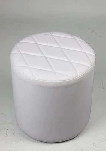 White Faux Leather Quilt Top Round Ottoman / Stool