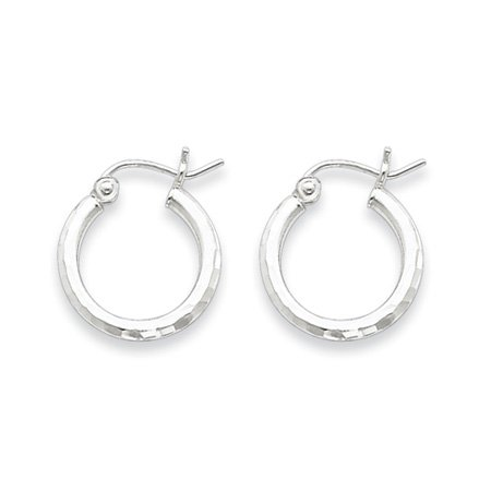 2mm Diamond-cut, Polished Silver Hoops - 15mm (9/16