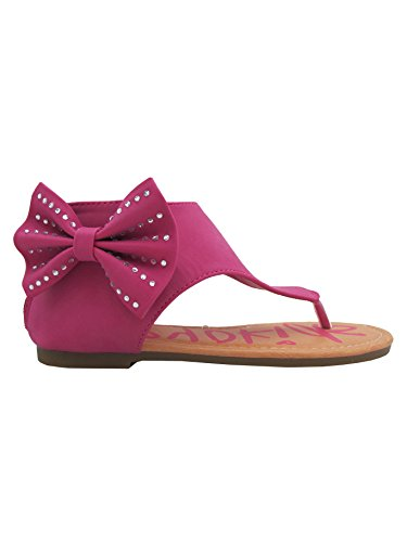 Karylle-12 Little Girls Flat Thong Sandals with Side Bow and Rhinestones