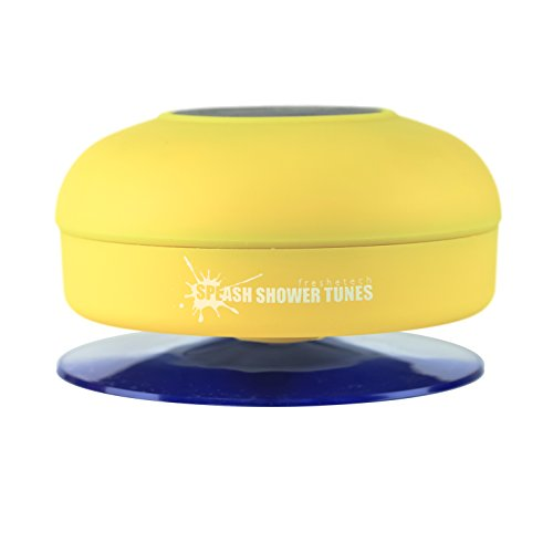 Splash Shower Tunes By Freshetech - Waterproof Bluetooth Wireless Shower Speaker Portable Speakerphone (Yellow)