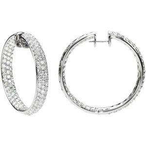 18K White Gold PAIR 8 1/2 CT TW Diamond Inside-outside Hoop Earrings