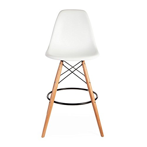 ModHaus Mid Century Modern Eames DSW Style White Counter Stool with ...