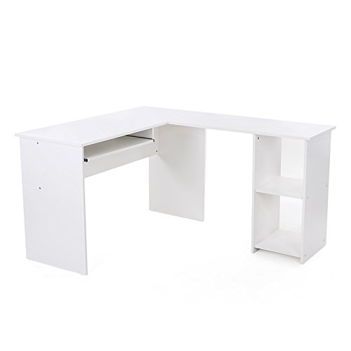 Songmics-140-x-120-x-75-cm-wei-Computerschreibtisch-Groe-Desktop-Design-3-Regale-Computertisch-Brotisch-Schreibtisch-Arbeitstisch-PC-Tisch-fr-das-Home-Office-LCD810W