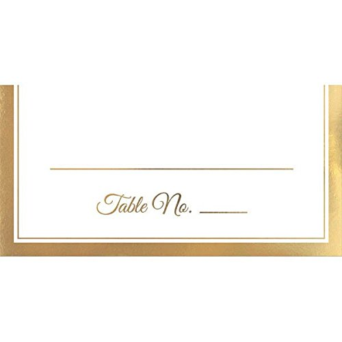"Amscan Elegant Place Card with Trim (50 Pack), 4 x 4"", White/Gold"