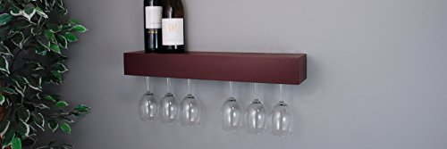 nexxt Pinot Series Shelf with Wine Glass Rack - 24x3x5-Inch - Holds 6 Wine Glasses, Espresso (Glass Shelves Hold compare prices)