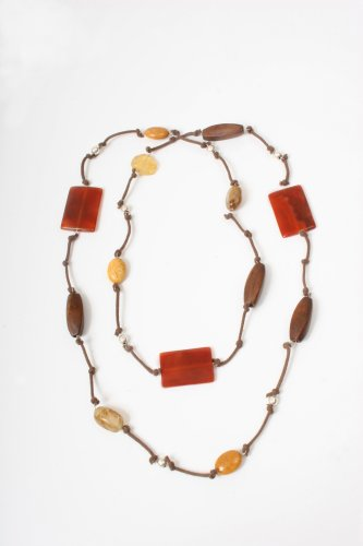 Carnelian, Yellow Jade and Silver Beads Necklace with Leather From the Amazonas Collection By Mauricio Serrano Jewelry