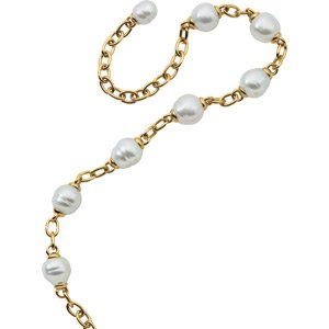 18k Yellow Gold South Sea Cult. Pearl Necklace 17 1/2 Inch - JewelryWeb