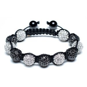 SHAMBALLA CRYSTAL DISCO BALL FRIENDSHIP BEAD BRACELETS 10mm[Black & white with black string]