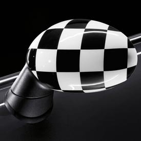 Genuine OEM MINI Cooper Checkered Flag Mirror Covers- Standard/Without Powerfold Option SA313- SET OF 2 (INCLUDES 1 RIGHT & 1 LEFT COVER)