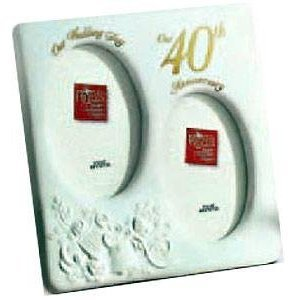 "Special 40th Anniversary oval duo by Russ Berrie - 3 1/2"" x 5"""