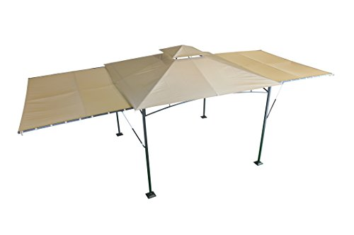 Ideal Large Huge Gazebo Pavilion with Panels Beige x cm UV SORARA Outdoor Backyard Shelter Canopy Garden Features