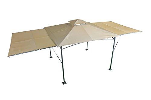 pavillon mit zwei ausklappbaren seitenw nden beige 300 x 300 cm 3 x 6m sorara 250 g m. Black Bedroom Furniture Sets. Home Design Ideas