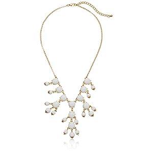 White Cabochon Bib Necklace, 22