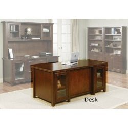 Kathy Ireland Home by Martin Furniture Tribeca Loft Double Pedestal Wood Executive Desk in Cherry