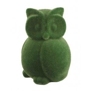 Streamline Grass Flocked Coin Bank - Owl