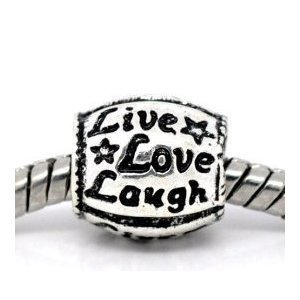 Believe Beads© 1x Live Love Laugh Silver Plated Charm Bead will fit Pandora/Troll/Chamilia Style Charm Bracelet