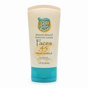 Ocean Potion Suncare Natural Mineral Protective Lotion, Faces SPF 45, Tinted Sunblock 3 fl oz (89 ml