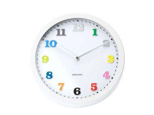 Present Time - White Wall Clock With Multi-Colored Numbers