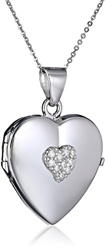 """Italian Sterling Silver Reversible Filigree Red Heart and Cubic Zirconia Heart Locket Necklace, 18"""""""
