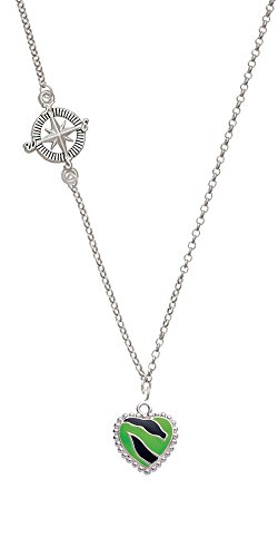 Lime Green Zebra Print Heart Delicate Compass Necklace
