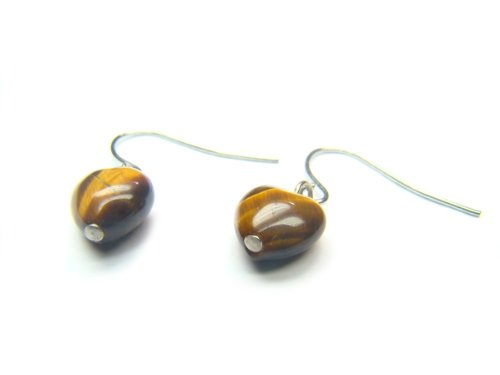 Tiger Eye Heart Shape 8mm Earrings