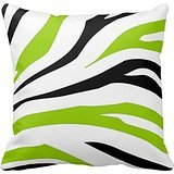 Best Pillow Cover Fashion Home Decorative Cotton Polyester Pillowcase 18 * 18 Inches Black And Lime Green Zebra Stripes Print Pillow Case