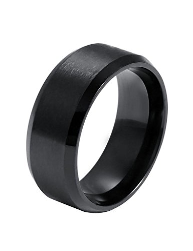 FANSING Mens 8mm Stainless Steel Black Ring Bands (Ring For Men compare prices)