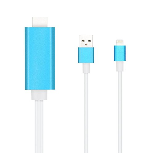 Per iPhone OBEST adattatore HDMI a HDMI, AV TV HDTV, cavo connettore per iPhone 5/5S/5C/6/6 Plus/6S Plus/6S, con cavo di ricarica USB