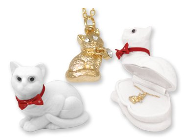 18k Kitty Cat Necklace Pendant Crystal in Shaped Gift Box