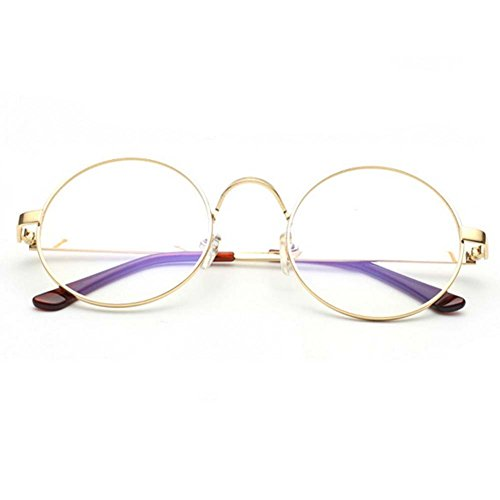 W-Q Fashion Metal Frame Transparent Clear Lens Anti Blue Light Round Student Glasses(C3)