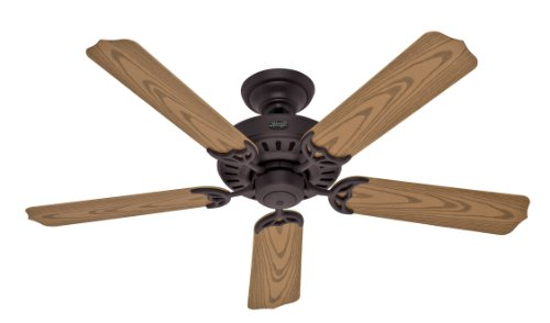 Hunter Fan Company 28464 Bridgeport ETL Damp Listed 52-Inch 5-Blade Ceiling Fan, New Bronze with Plastic Oak Blades
