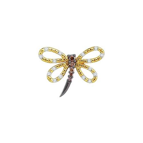 0.26Ctw Cognac Diamond Ladies Butterfly Pendant