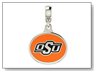 Oklahoma State Cowboys Collegiate Drop Charm Fits Most Pandora Style Bracelets Including Pandora Chamilia Zable Troll and More. High Quality Bead in Stock for Immediate Shipping. Officially Licensed