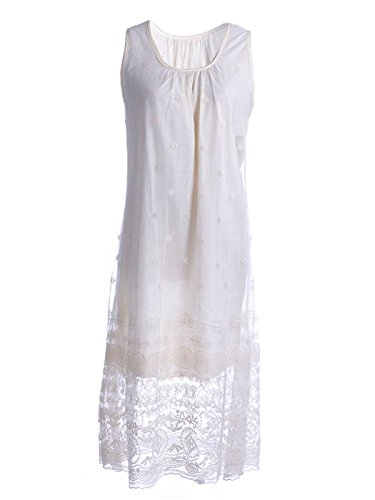 Anna-Kaci S/M Fit Beige Antique Knife Pleat Bodice Floral Lace Overlay Dress