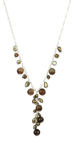 Dyed Brown Agate Round Faceted Bead and Champagne, Bronze and Chocolate Color Baroque FWP and Silver Tone Chain